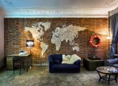 Использование в интерьере карты мира на стене