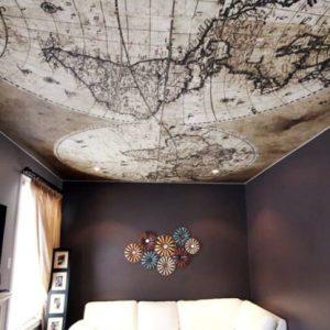 Где применяется и как создается карта мира на потолке?