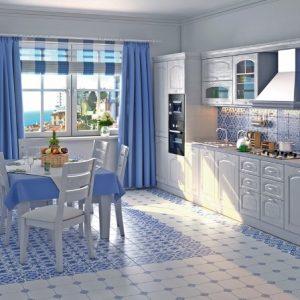 Использование стиля гжель в интерьере кухни