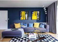 Оформление гостиной в синих тонах