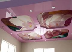 Плюсы, минусы и варианты двухуровневых натяжных потолков с фотопечатью