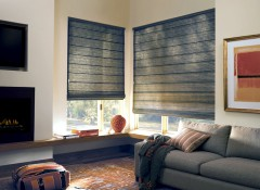 Применение в интерьере гостиной римских штор