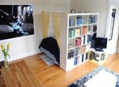 Использование шкафа для зонирования спальни